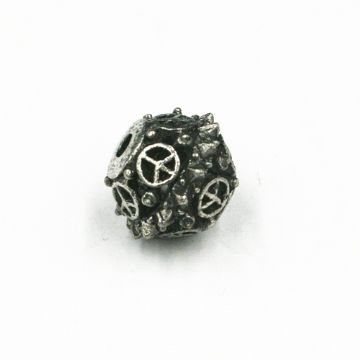 8pcs x 11mm Peace spike bead - 2mm hole - antique silver plated - 4000070